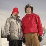 右は息子のDougie Lampkin。2014年3月31日。ツンドラトライアル企画でフィンランドにて。
